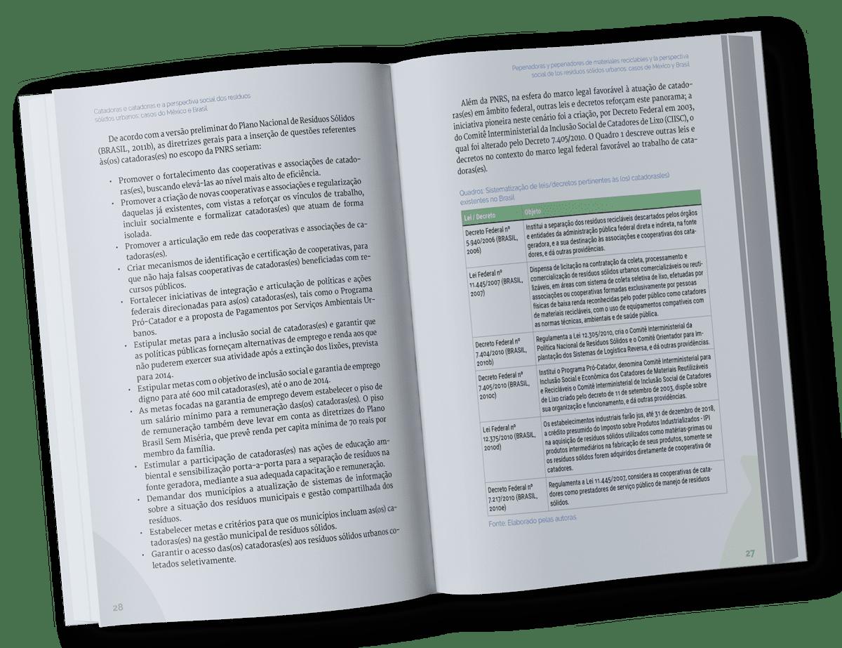 Detalhe interno de livro sobre Catadores
